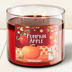 Pumpkin Apple Candle - Home Fragrance 1037181 - Bath & Body Works Bath Candles, 3 Wick Candles, Scented Candles, Candle Jars, Homemade Candles, Bath N Body Works, Bath And Body, Best Home Fragrance, Candle Diffuser