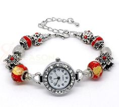 Wholesale Handmade Red Charm Beaded Watch Bracelet Fit European Beads Sold Per Pack Of 1 from China Supplier Beaded Watches, Jewelry Watches, Red Watches, Beaded Jewelry, Jewelry Bracelets, Handmade Jewelry, Schmuck Design, Jewelry Crafts, Jewelry Ideas