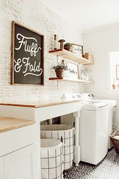 DIY Faux Brick Wall in Laundry Room Learn how to install a DIY faux brick wall to instantly add tons of character to your space. This is a fairly simple DIY that can be done in a weekend. Laundry Room Remodel, Laundry Room Storage, Laundry Room Design, Laundry Rooms, Laundry Room Wall Decor, Lp Storage, Record Storage, Basement Laundry, Small Laundry