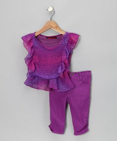 Take a look at this Purple Snake Skin Chiffon Top & Jeggings - Infant & Toddler by Dollhouse on #zulily today!