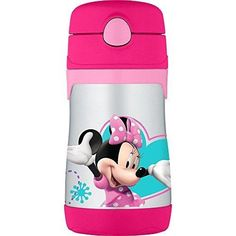 THERMOS Vacuum Insulated Stainless Steel 10-Ounce Straw Bottle Minnie's Bow-Tique