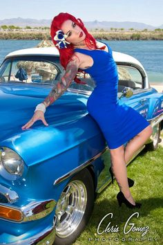 red haired pinup girl with hot rods #rockabilly #tattoos