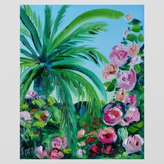Original Oil Painting on paper thick gallery wall paint tropical palm tree flowers roses print oasis rainforest holiday vibes bright blue sky green floral decor decoration home improvements Palm Tree Flowers, Palm Trees, Oil Painting On Paper, Page Frames, Fine Art Prints, Framed Prints, Handmade Cards, Oasis, Giclee Print