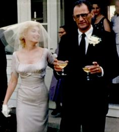 Marilyn Monroe and Arthur Miller on their wedding day, 1 July, 1956. Photo by Milton Greene.