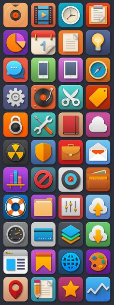 Useful: 44 FREE Flat Playful Icons (64px, 128px, 256px) in PSD + PNG #free #flat #icons