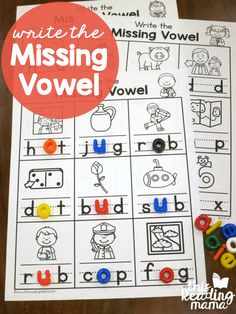 Write the Missing Vowel Worksheets - CVC Words - free at This Reading Mama Vowel Activities, Vowel Worksheets, Spelling Activities, Alphabet Activities, Literacy Activities, Literacy Centers, Free Worksheets, Beginning Sounds Worksheets, Kindergarten Literacy