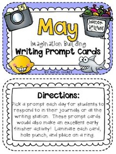 May Imagination Building Writing Prompt Cards--PERFECT for the last few weeks/days of school!  Kids are still enjoying writing--even at the end of the year!!!