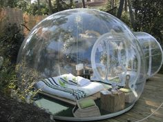 "See through bubble for outdoor ""camping"" luxury. Way too cool."