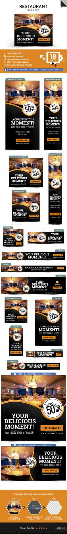 Restaurant Banners — Photoshop PSD #business #Google adwords banner • Available here → https://graphicriver.net/item/restaurant-banners/15995926?ref=pxcr