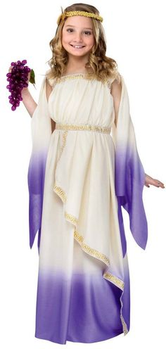 For Mina's Queen Esther costume? A bit Greek, but could make it work.Purple Greek Goddess Costume - Roman Costumes WB with Bracelet for Mom) Halloween Costume Accessories, Halloween Fancy Dress, Halloween Costumes For Girls, Girl Costumes, Costumes For Women, Greek Costumes, Roman Costumes, Costumes Kids, Mermaid Costumes