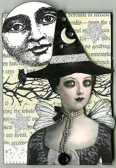 Magick Wicca Witch Witchcraft:  Witch with Full Moon.