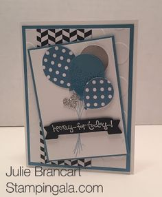 Birthday card featuring Stampin Up's Balloon Celebration Stamp Set and Balloon Bouquet Punch. Perfect kids birthday card. Created by Julie Brancart www.stampingala.com.