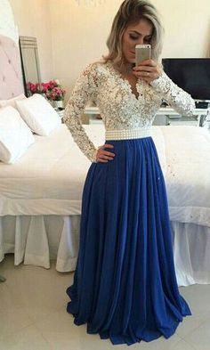 Royal Blue Lace V Neck Popular Evening Dress with Long Sleeve Pearl Belt Long Prom Dresses Special Occasion Dresses_Wedding Dresses Royal Blue Prom Dresses, Prom Dresses 2016, Prom Dresses With Sleeves, Prom Gowns, Prom Dresses Long Modest, Dresses Dresses, Bridesmaid Dresses, Beaded Dresses, Prom 2016