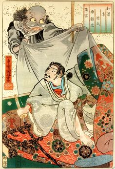 """Usugumo / 薄雲 / Thin Clouds from the series """"Japanese and Chinese comparisons for the chapters of Genji"""", 1885 by  Utagawa Kuniyoshi 