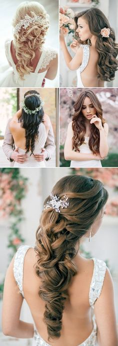 Soft & loose down wedding hairstyles for long hair