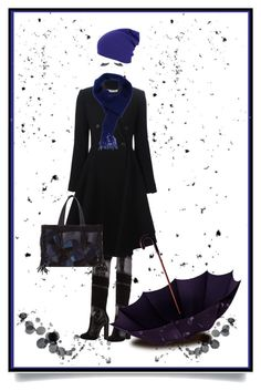 """Blue and Black for Autumn"" by auntiehelen ❤ liked on Polyvore featuring art"