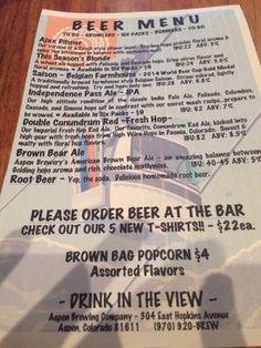 Aspen Brewing Tap Room menu, I like This Seasons Blonde | Yelp
