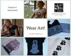 Wear Art! Hand printed original woodcuts and linocuts motives on high quality T-shirts by artist Miroslav Blaznik. Yoga T-shirts. Meditation T-shirts. ©BrightwoodGallery