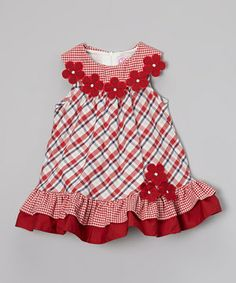 Red Flower Checker Swing Dress - Infant