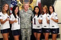 The New England Patriots Cheerleaders - Supporting our Military and bringing Christmas cheer to all. New England Patriots Cheerleaders, Nfl Cheerleaders, Cheerleading, Blonde Women, Bring It On, Military, Middle East, Troops, News