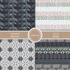Tribal/Western Modern Digital Paper Instant Download by patternpop