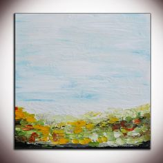 """Abstract Landscape Painting, Colorful Abstract, 24"""" Original Abstract Painting Original Minimalist Painting, White Art  Abstract  by Andrada..."""