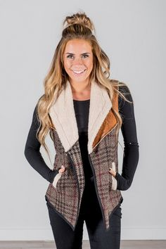 Plaid Vest with Leather and Fur Details