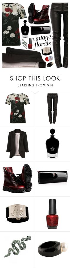 """Vintage Florals"" by ladomna ❤ liked on Polyvore featuring M&Co, Preen, WithChic, EB Florals, Christian Louboutin, Lisa Stewart, OPI, Rosebud Perfume Co., Palm Beach Jewelry and vintage"