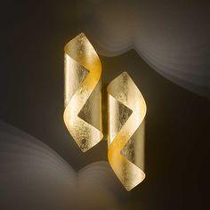 LED-Wandleuchte Safira in glänzendem Gold von Wofi Lamp Design, Lighting Design, Luminaire Mural, Lampe Decoration, Applique Led, Pvc Projects, Beautiful Lights, Diy Wall Decor, Light Decorations