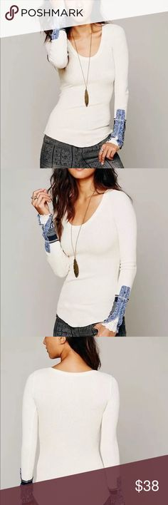 Free People Kyoto Cuff Thermal  XS We The Free Kyoto cuff White with blue denim detailed cuffs (missing one snap on cuff not noticeable reflected in price such a beautiful top ..  looks new other then that XS Ivory Combo Free People Tops