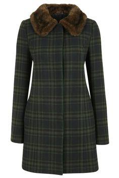Louche Ronnie Check Coat   Shop women's faux fur collar winter coats   JOY
