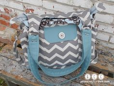 Concealed Carry Purse, GCC Deluxe w/ Zipper Closure- Gray on Gray Chevron w/ Stormy Blue by GCCginascraftcorner on Etsy https://www.etsy.com/listing/238479564/concealed-carry-purse-gcc-deluxe-w