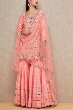 Pink mirrored sharara set Abhinav Mishra Designers is part of Sharara designs - Party Wear Indian Dresses, Pakistani Fashion Party Wear, Designer Party Wear Dresses, Pakistani Dresses Casual, Indian Gowns Dresses, Pakistani Bridal Dresses, Indian Fashion Dresses, Dress Indian Style, Pakistani Dress Design