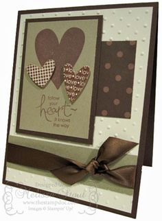 Valentine in Very Vanilla, Crumb Cake and Choc Chip. Embossing folder. I heart Hearts