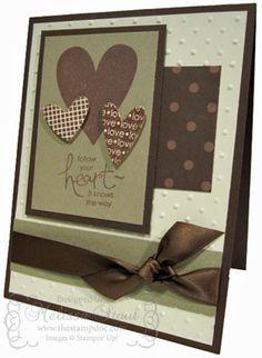 Valentine in Very Vanilla, Crumb Cake and Choc Chip. Embossing folder. I heart Hearts