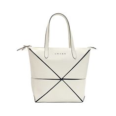 Cross Women's Large Ivory Leather Origami Collapsible Hand Bag