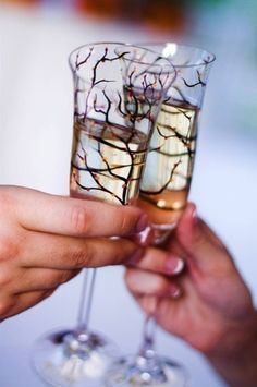 Personalized Tree Branch Wedding Toasting Flutes--Set of 2 Customized Champagne Flutes for $68 by Mary Elizabeth Arts