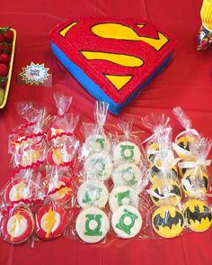 The ultimate Avengers Birthday! A Superman cake with Batman, The Flash, and Green Lantern cookies!