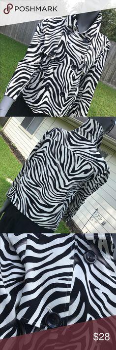 Animal print jacket Black and whitish jacket. Animal print double breasted jacket, Three quarter length sleeve jacket Jackets & Coats Trench Coats