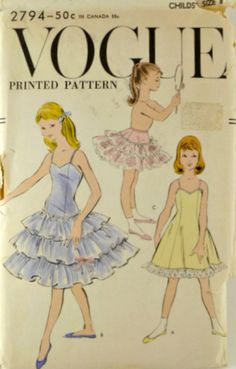 Vintage 1950s Vogue 2794 Pattern Girls Slip by VintageNeedleFinds,