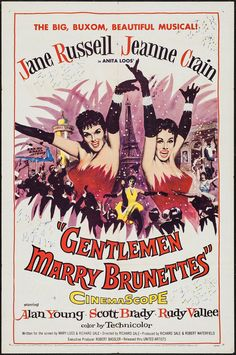 """Gentlemen Marry Brunettes (United Artists, 1955). One Sheet (27"""" X 41""""). Musical. Starring Jane Russell, Jeanne Crain, Alan Young, Scott Brady, Rudy Vallee, Guy Middleton, Eric Pohlmann, Ferdy Mayne, and Michael Balfour. Directed by Richard Sale."""