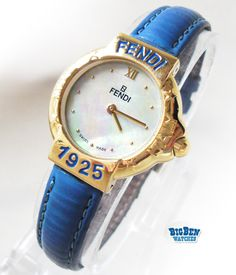 Ladies FENDI 430l Mother Of Pearl Blue & Gold Leather Designer Watch