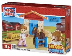 Megabloks Pony Stable by Megabloks. $10.49. Comes with articulated girl figurine.. Build, rebuild and combine playsets to create your own BlokTown adventures!. Create competitions for the pony by jumping fences and bales of hay, and keep the pony healthy by feeding it in the trough.. Create your own stable to keep the pony safe at night.. 16 piece set.. From the Manufacturer                Give the children of BlokTown a Pony stable so they can learn to ride! Create and dec...
