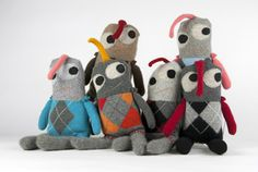 SNUGGLY UGLY Monsters — Limited edition Argyle munchkins, cashmere monsters.