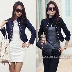Korean Ladies Wear To Work Long Sleeve Double-Breasted Slim Peplum Cropped Casual Jacket Cardigan Clothing Free Shipping 01076