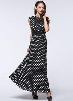 Mousseline de soie Àpois Sans manches Maxi Vintage Robes (1014971) @ floryday.com
