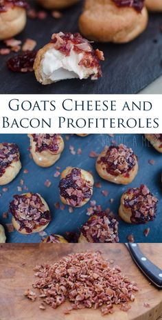 Goats cheese and bacon profiteroles. Choux pastry filled with a goats cheese cream, topped with caramelised onion chutney and crispy pieces of bacon. | Baking a Mess
