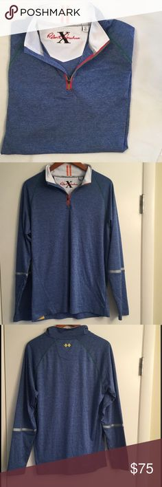 """Robert Graham X Collection Pullover M Tailored Fit New without tags Robert Graham X Collection blue pullover.  Front neckline has a zipper.  Tailored fit (chest 20"""" laying flat, total length 28""""). Ordered from robertgraham.us the website, I ordered the wrong size.  Never worn.  Lightweight 100% Polyester. Robert Graham Shirts Tees - Long Sleeve"""