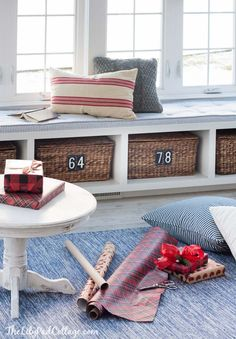 Red and White cozy ski lodge inspired christmas tour, lots of vintage touches and cozy cottage design.