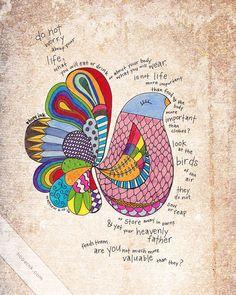 "Matthew ""Do Not Worry"", Hand Drawn Bird Illustration, Scripture Art Print via Etsy. Scripture Art, Bible Art, Bible Scriptures, Uplifting Scripture, Scripture Journal, Uplifting Quotes, Bird Illustration, Illustrations, Words Of Jesus"